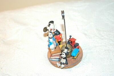 Mickey Mouse With Wizard Hat & Train Disney Photo Holder Ceramic Figure