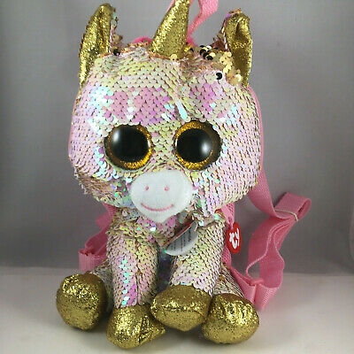 2018 TY Fashion Flippy Color Changing Sequin Backpack - FANTASIA Unicorn 13 Inch