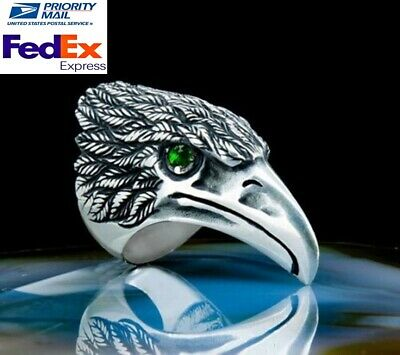Emerald Stone Turkish Jewelry Handmade 925 Sterling Silver Mens Ring ALL SİZE 89