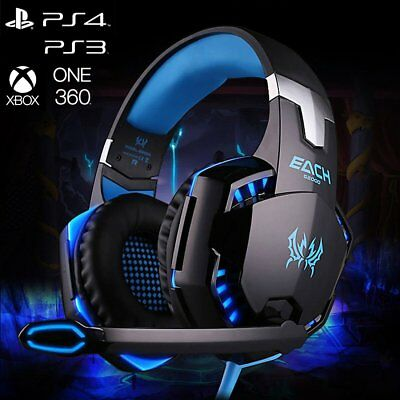 3.5mm Gaming Headset Mic LED Headphones Stereo Surround for Laptop PS4 Xbox one
