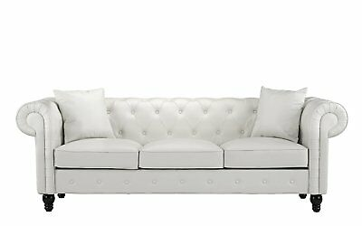 Vintage Chesterfield Sofa Tufted White Leather Victorian Scroll Arm Couch Seat