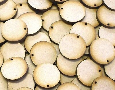 MDF Wooden Disk Circle Shapes With One Hole 3mm Thick Round Wood Base 10mm -75mm