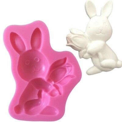 Easter Bunny Rabbit Candle Silicone Mold Resin Clay Soap Fondant Chocolate Candy