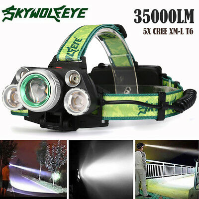 35000LM 5x XM-L T6 LED Rechargeable Headlamp Headlight Travel Head Torch NEW