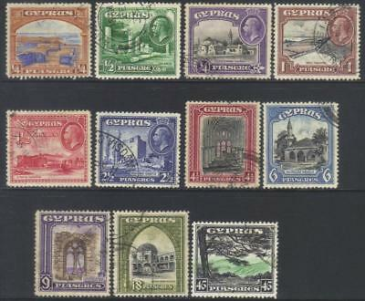 Cyprus 1934 Msca Used Set Of 11 Cat £190+