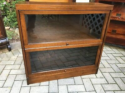 Antique Barrister Bookcase 2 Stack Walnut