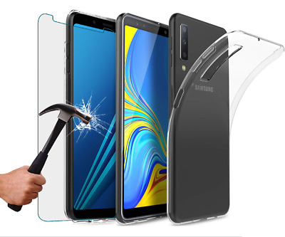 For Samsung Galaxy A7 2018 Clear Slim TPU Gel Case and Glass Screen Protector
