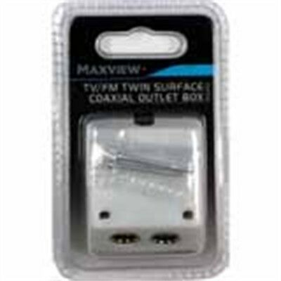 Tv Fm Twin Outlet Surface Coaxial Splitter Box - Maxview White Compact And