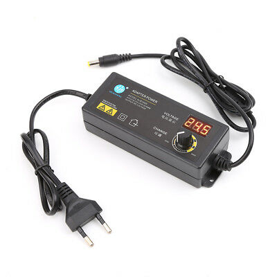 Adjustable Power Adapter With Voltage Digital Display Screen 3V-12V 5A EU Plug