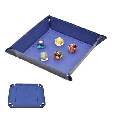 Blue Dice Rolling Tray PU Tabletop RPG Foldable Great For DnD Board Gaming New