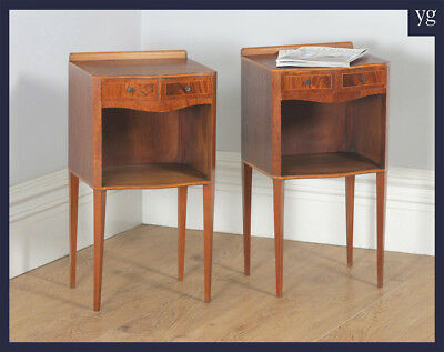 Vintage Georgian Regency Style Mahogany Bedside Cabinet Tables Nightstands c1970