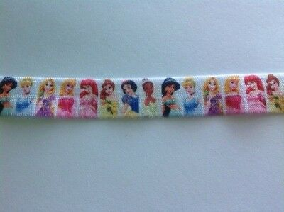 1m FOE Disney Princess White Fold Over Elastic FREE POST Craft Party Hair
