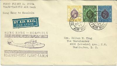Hong Kong 1937 First Flight Cover From Hong Kong To Honolulu Dated 29Th Apr 1937