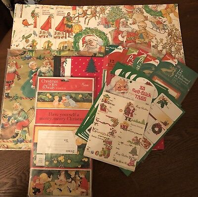 Vintage Christmas Lot of 254 Gift Tags 12 Assorted Gift Wrapping Paper 12 Cards