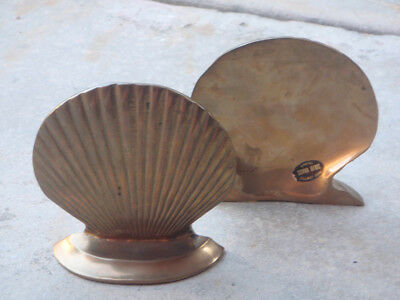 pair of vintage solid brass Clam Shell Book Ends / bookends