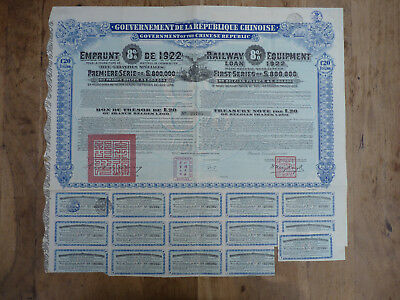 Chinese Government, 8% Railway Equipment Loan of 1922 , 2 original Certificate !
