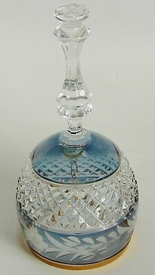 Blue/gray Crystal & Gold Trimmed Bell w/Crystal Bead Clapper