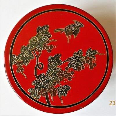 Antique Japanese Red Lacquer Box .