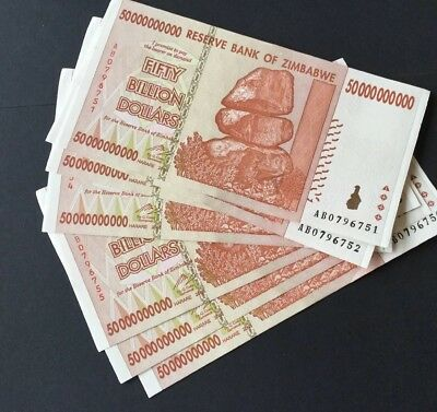 Fifty Billion Dollar Zimbabwe Notes . Very Clean Used.