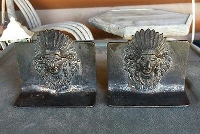 Bookends Indian Chief Heavy Metal  Or Bronze Antique 4.25 X 3.25 inches