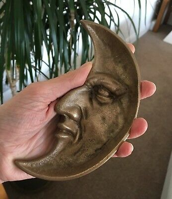 Vintage Bronze or Brass? Man in the Moon Crescent Pin Tray Deco Ash Tray Dish
