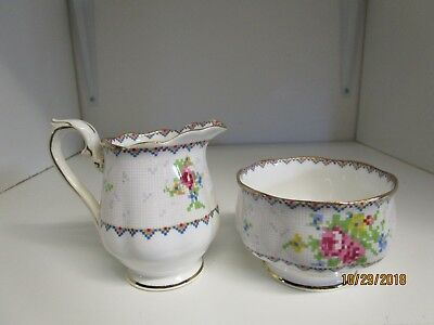Vintage Royal Albert Petit Point China Sugar Bowl & Creamer England