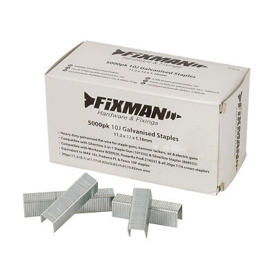Fixman 810318 10J Galvanised Staples 5000pk 11.2 x 12 x 1.17mm