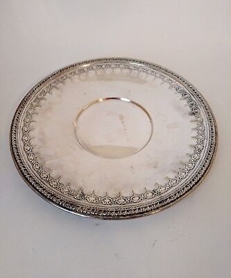 """Vintage Rustic Decor Round Silverplate Tray Plate 10.5"""" EPNS Reed & Barton"""