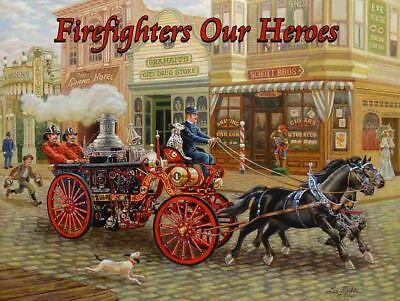 1902 Vintage Fire Steamer, Firefighters Our Heroes Metal Sign by Lee Dubin
