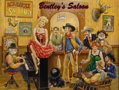 Bentley's Western Saloon Beautiful Girls Strong Spirits Metal Sign by Lee Dubin