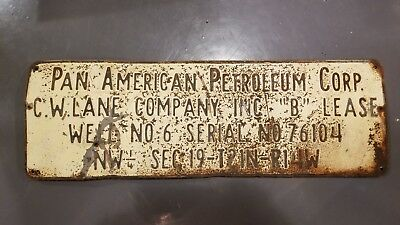 Vintage Pan American Petroleum Corporation Oil Well Lease Gas Sign metal