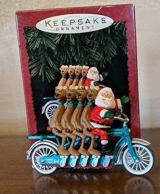 Hallmark CHEERY CYCLISTS ornament Santa with Reindeer on bicycle 1994