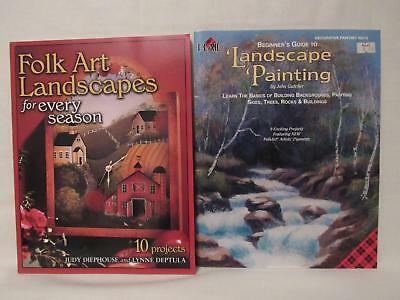 Lot Of 2 Landscape Painting Book/pamphlet Folk Art Plaid Scenery Trees Skies