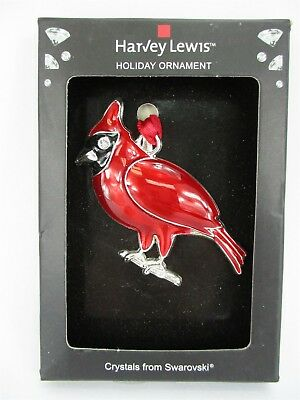 Red Sparrow Bird Holiday Ornament Harvey Lewis Made with Swarovski Elements Xmas