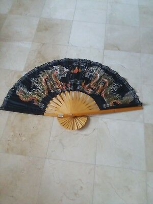 """Large Vintage Chinese Oriental Decorative Black Dragon Bamboo Wood Wall Fan; 24"""""""