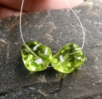 AAAAA APPLE GREEN PERIDOT FANCY CARVED BEADS PAIR 9.1-9.6mm 12.45cts