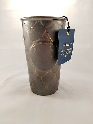 Starbucks 2016 Anniversary Travel Tumbler Mug Gold Accent Siren Scales.