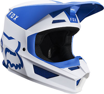 Fox Racing Adult V1 Mata Blue/White Dirt Bike Helmet Motocross ATV UTV