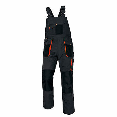 WORK BIB AND BRACE WORKWEAR BLACK overalls coveralls mens with knee pad pockets