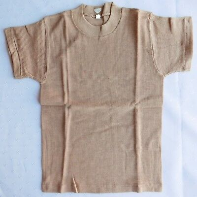 Childs vintage tee shirt school sports kit UNUSED 1960s boys girls top beige 26""