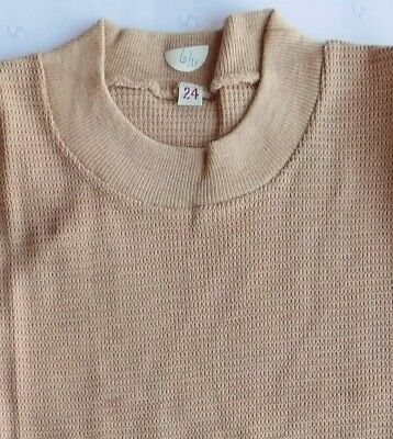 Childs vintage tee shirt school sports kit UNUSED 1960s boys girls top beige 24""