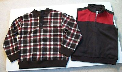NEW Gymboree Boys Fleece Vest and Plaid Pullover Brown/Red/Ivory Size M (7-8)