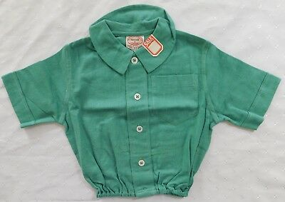 Aertex top baby clothes vintage 1930s short sleeve shirt green UNUSED 3 months