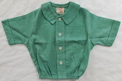 Aertex top baby blouse age 6 months vintage 1930s shirt green UNUSED