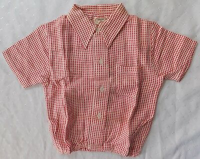 Aertex shirt baby clothes vintage 1930s 1950s short sleeve top red white UNUSED