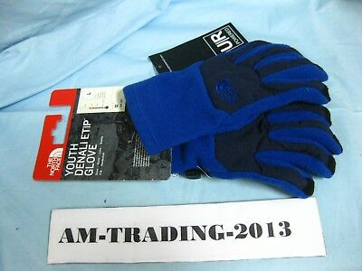 NWT The North Face Youth Denali Etip Gloves Blue/Black Size Large