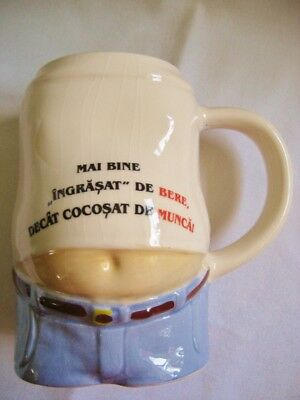 Vintage Novelty Beer Stein Mug Gag Gift Beer Belly Romania 33 oz/1 liter