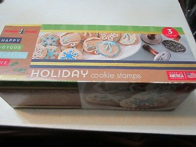 Nordic Ware Holiday Cookie Stamps,Set of 3-Snowflake, Gift Tag,Wreath NIP