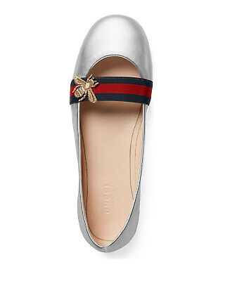 b3479e4b632 Gucci Bayadere Bee Web Ballet Flats Silver New Authentic 41   11 US
