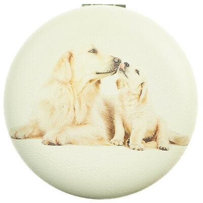 Golden Retriever & Pup Mirror Compact Dog Image on both sides Approx 7cm